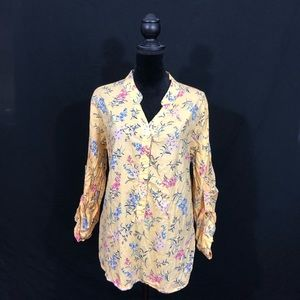 Yellow floral button blouse